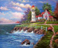 american cottage oil painting 167 lighthouse beachside rocky wa