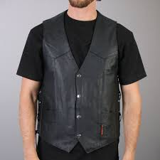 hot leathers men s concealed carry leather vest