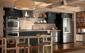 Kitchen:Charming Industrial Kitchens Design With Black Kitchen Cabinet And  Wooden Floor Ideas Charming Industrial