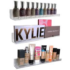 Acrylic Wall Mount Cosmetics Organizer, Makeup Palette Holder & Nail Polish  Rack. Strong,