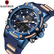 <b>KADEMAN</b> Top Brand Luxury Dual Time Display Waterproof ...