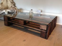 large glass top upcycled wooden coffee table