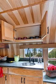 Camper Trailer Kitchen Designs Wonderful Airstream Trailer Interior With Comfortable Leather Sofa