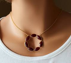 round dyed ruby statement necklace large ruby red pendant burdy red gemstone