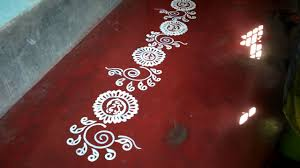 Border Alpana Design Easy Bengali Border Alpona For Beginners Laxmi Puja Alpona