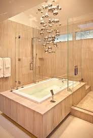 view in gallery cascading bubble chandelier in the bathroom blends with the backdrop