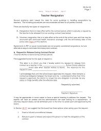 Resignation Letter Amazing Resignation Letter Sample Of A Teacher