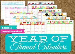 Monthly Themed Calendar Set Editable Printable Calendars Free Yearly