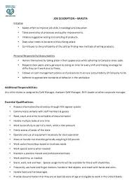 Sample Resume Barista Best Of Barista Job Description Resume Samples As Well As Barista Resume Job