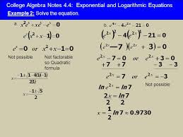 college algebra notes 4 4 exponential and logarithmic equations