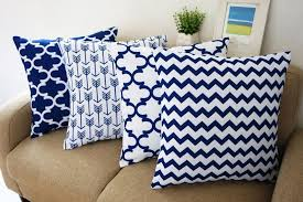 blue and white howarmer square cotton canvas decorative throw pillows cover set of 4 accent