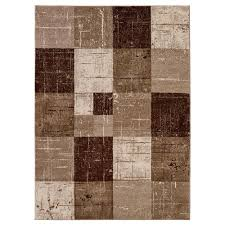 city collection contemporary faded geometric checd brown beige 5 ft x 7 ft indoor