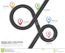 Road Way Location Infographic Template With Pin Pointer Stock Vector