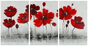 red flower 3 piece canvas painting wall art set wall art alan decor  on 3 piece wall art set with red flower 3 piece canvas painting wall art set