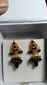 Light Weight Black Beads Black Beads Earrings Gold Earrings Designs Beaded Jewelry