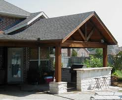 Rustic Patio Design With Gable Front Porch Roof And White Keystone Stone  Ideas Covers