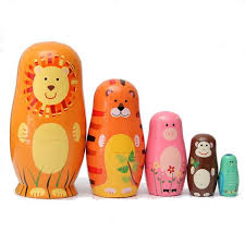 well reviewed 5pcs cute wooden nesting dolls matryoshka animal russian doll newchic