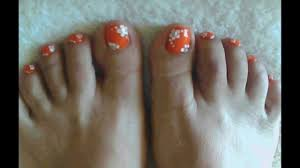 Pretty coral toe nail art design - YouTube