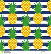 Pineapple Pattern Stunning Pineapple On Striped Background Cute Vector Pineapple Pattern