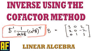 using the cofactor method to solve for the inverse of a matrix linear algebra
