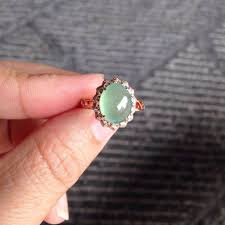 Light Green Stone Rings Perfect 18k Rose Gold Icy Light Green Jade Filigree Band
