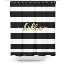 teal striped shower curtain. black and white striped shower curtain with gold typography ($72) ❤ liked on\u2026 teal