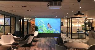 japanese office furniture. A Japanese Office Furniture Showroom Has Opted For Huge Dnp Optical Projection Screen, Giving It The Image Quality And High Contrast Of Multi-screen E