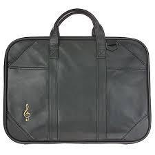 Treble Clef Music Store Leather Music Briefcase Treble Clef Black