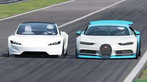 This is a comparison between the m12 molten and the bugatti chiron in roblox jailbreak. Tesla Roadster Vs Bugatti Chiron Race Supercars Gallery