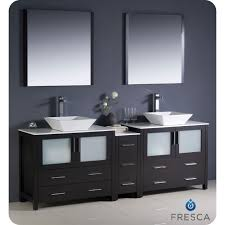 Modern double sink vanity Wall Hung 84 Inch Espresso Modern Double Sink Bathroom Vanity W Side Cabinet Vessel Sinks The Tub Connection 84 Inch Torino Fresca Espresso Modern Double Sink Bathroom Vanity