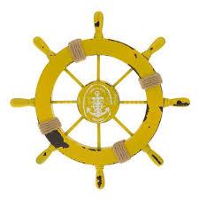 wood anchor boat ship wheel wall plaque nautical beach tropical decor yellow