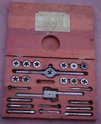 Tap And Die Set Size Chart Rare Antique Tap Die Set Wooden Box Early 1900s Drill Size