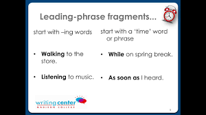 Sentence Fragment Madison College Writing Center Youtube