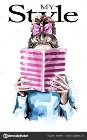 ファッション女性の本を読んでいます 美しいヘアスタイルでかわいい