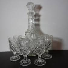 vintage clear glass liquor or wine decanter with set of 6 wine or liquor stemmed glasses