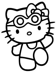 Cute Hello Kitty Drinking Water Coloring Page Free Printable