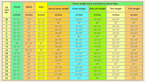 Dress Size Chart Measurements Edaydressbridal Store