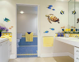 Bathroom:Little Boys Kids Bathroom With White Free Standing Washstand With  Low Blue Bench Near