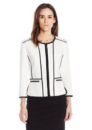 kasper women s stretch pique zipper front jacket