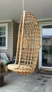 vtg bamboo hanging basket chair rattan egg pod wicker swing birdcage