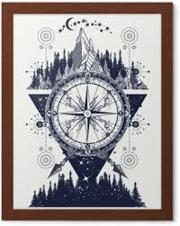 Hory A Starožitné Kompas Tetování Umění Dobrodružství Cestování