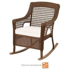 outdoor wicker rocking chairs with cushions. spring haven brown wicker outdoor patio rocking chair with cushion insert (slipcovers sold separately) chairs cushions r
