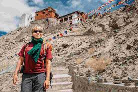 Tibetan girl canadian tourist nepal