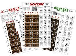 3 Left Handed Posters Guitar Ukulele Banjo Chord