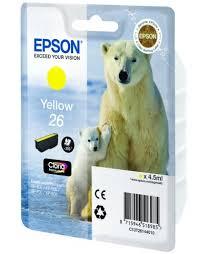 <b>Картридж Epson</b> №26 жёлтый <b>C13T26144010</b> (белый медведь ...