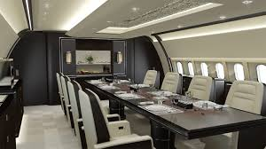 The interior takes open plan living to a new dimension in aviation interior  design and features