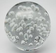 Clear Glass Paperweight With Bubbles Handcrafted Blown Glass