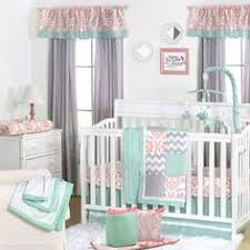 Y Mint Coral And Grey Patchwork 5 Piece Baby Crib Bedding Set By The Peanut  Shell