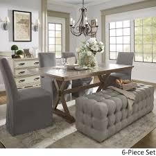 pennington grey rectangular tile top trestle table dining set by inspire q artisan today overstock 19267394