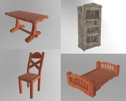 Image Folding Chairs Old Furniture Wood Model Turbosquid Old Furniture Wood Model Turbosquid 1245987